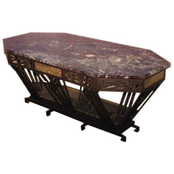 3163 Large Art Deco Iron Center Table in the Style of Edgar Brandt