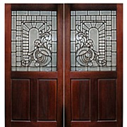 333 Original Cherry Wood Doors with Leaded & Beveled Glass