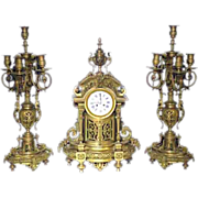 3339 3-Pc. 19th Century Matching Bronze Clock Set