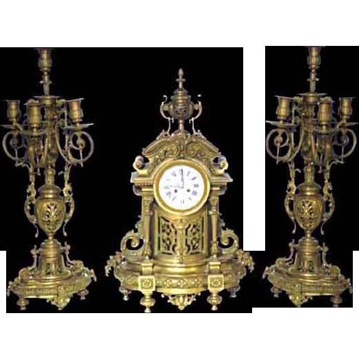 3339 3-Pc. 19th Century Matching Bronze Clock Set