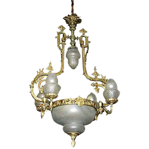3340 19th C. French Bronze Chandelier wtih Original Shades