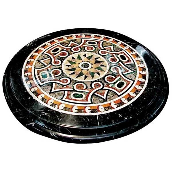 3480 48-Inch Diameter Inlaid Marble Specimen Table