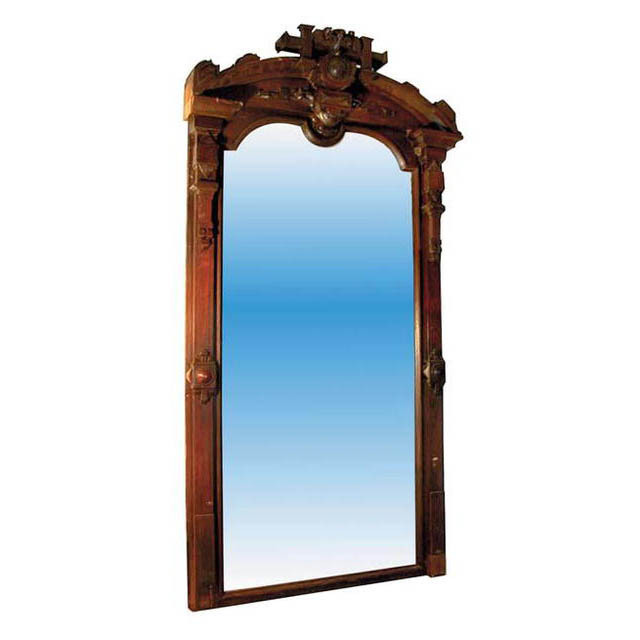 32.3506 Massive Walnut Over Mantle Mirror (top of crest not shown)
