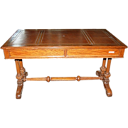 3537 19th C. Oak Writing Table with Brown Leather Top