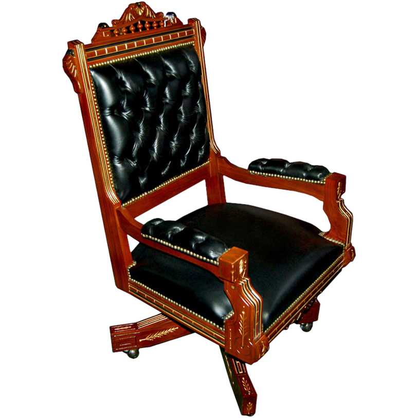 3693 American Renaissance Revival Armed Swivel Chair