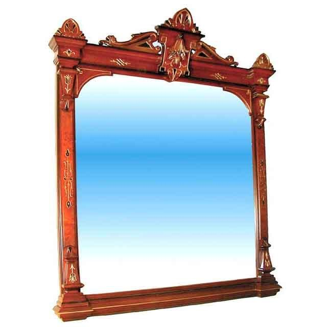 "3703 Antique 19th C. Walnut Wall/Mantle Mirror w/ 2"" Bevel"