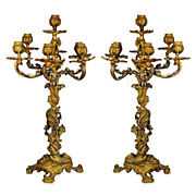 376 Pair of Ornate French Doré Bronze Candelabras