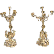 383 Pair of American Bronze Candelabra with Herons at Base