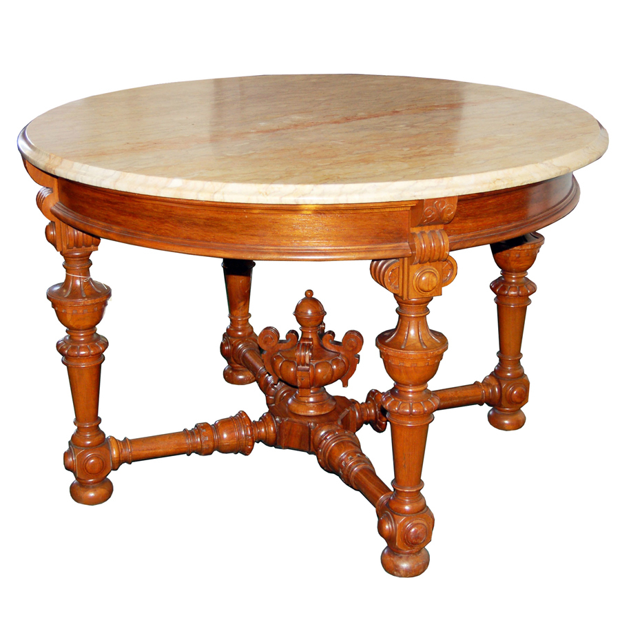 4033 Large Rosewood Marble Top Antique Center Table