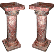4052 Simple Pair of Rose/Peach Tuscan Columns