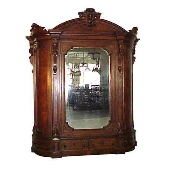 5074 Huge 19th C. American Walnut & Burl Armoire with Large Beveled Mirror
