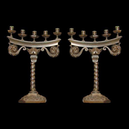 4104 Pair of French Bronze Antique Candelabras