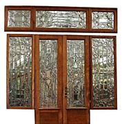 4138 Original American Victorian Large Beveled Glass Entry Way