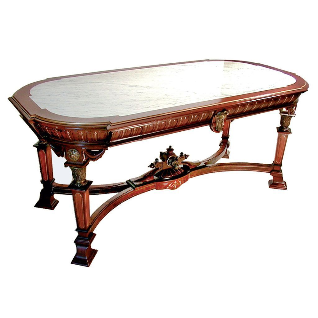 4208 Marble Top Renaissance Revival Table with Great Bronze Trim