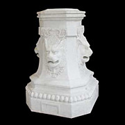 4256 Large Heavy Solid Marble Pedestal with Lion's Head