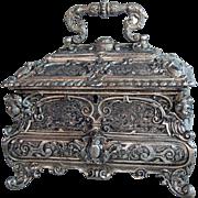 4267 19th C. Silver Plated Decorative Jewelry Box