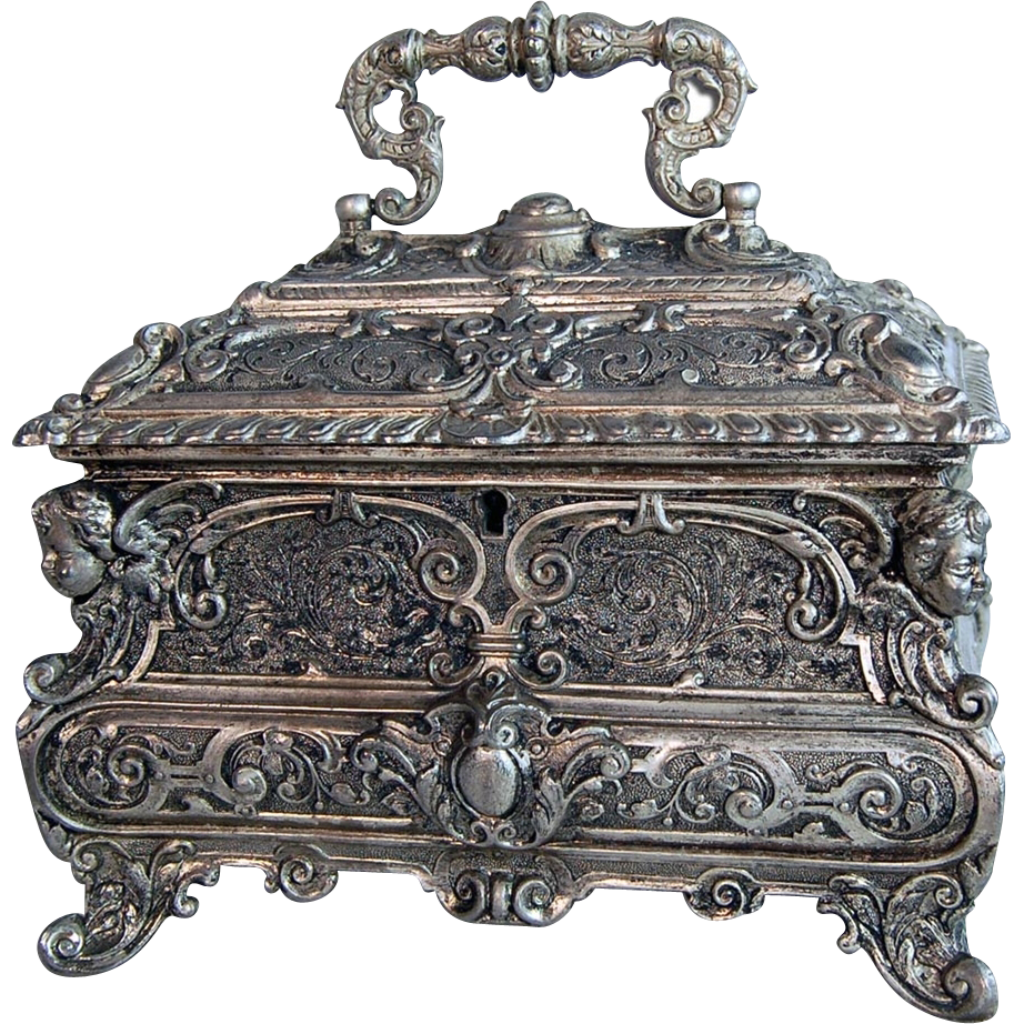 4267 19th C. Silver Plated Decorative Jewelry Box