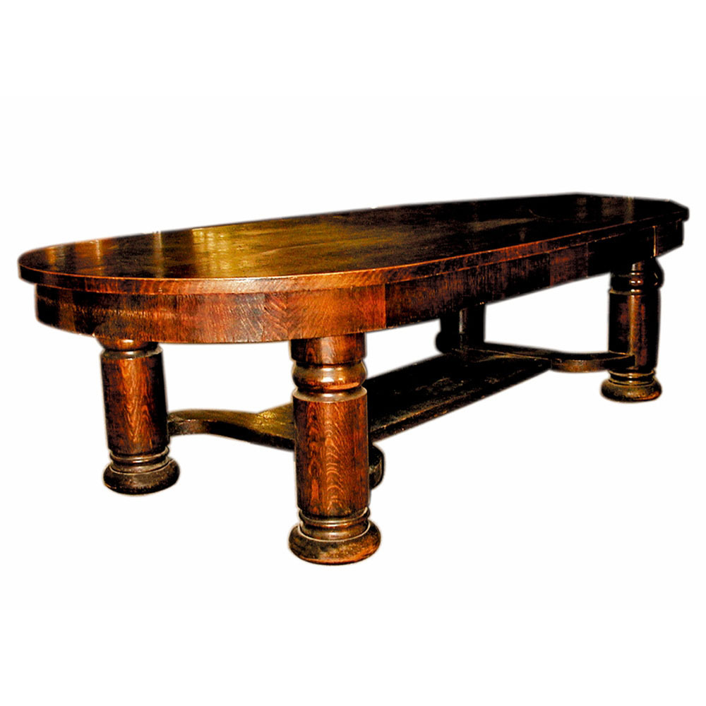 4349 American Quartersawn Oak Conference Table with Heavy Columns & Stretcher Base