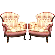 4402 Pair of Antique Turkish Chairs & Footstools in Damask Fabric