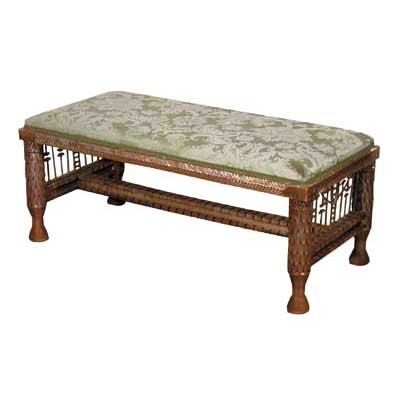 4409 Gilt Wood Bench with Lotus Carvings on Legs and Intricate Side Detail