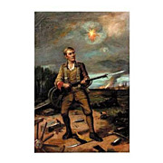 "4425 ""Soldier at Battle"" 19th Century Oil on Canvas"