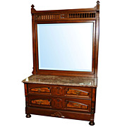 4428 Beautiful Antique Eastlake Dresser with Marble Top & Beveled Mirror