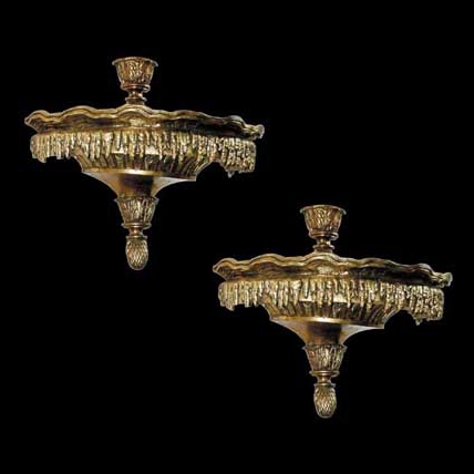 4438 Pair of Antique 19th C. Bronze Wall Sconces