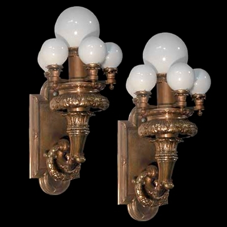 4439 Magnificent Pair of Bronze Beaux Art 6-Light Sconces