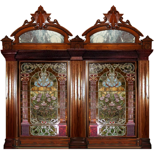 4454B Rare Pair of 19th Century Monumental Jeweled and Leaded Stained Glass Windows w Large Carved Cresting Pieces with Inset Marble