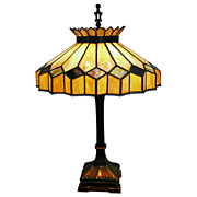 4456 Fantastic Stained Glass Table Lamp c. 1920