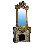 4458  Louis XVI Rococo mid 19th Century Marble and Gilt-Wood Mantle and Over mirror