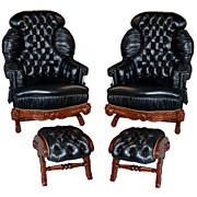 4501 Pair of Turkish Rockers & Footstools Upholstered in Black Leather