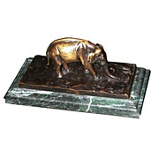 4506 Antique Bronze Elephant Inkwell on Verde Green Marble Base