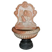 4513 2-Pc. Peach & White Wall Fountain with Figural Woman