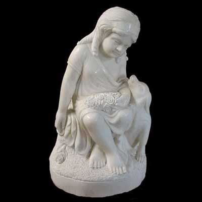 4522 Marble Statue of little girl with dog.