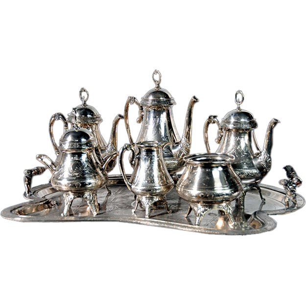 4536 7-Piece Victorian Silver Plate Tea Set