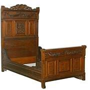 4558 Carved Antique Victorian Bed Executed in Walnut