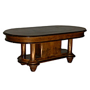 4562 French Art Deco Burled Walnut Oval Table