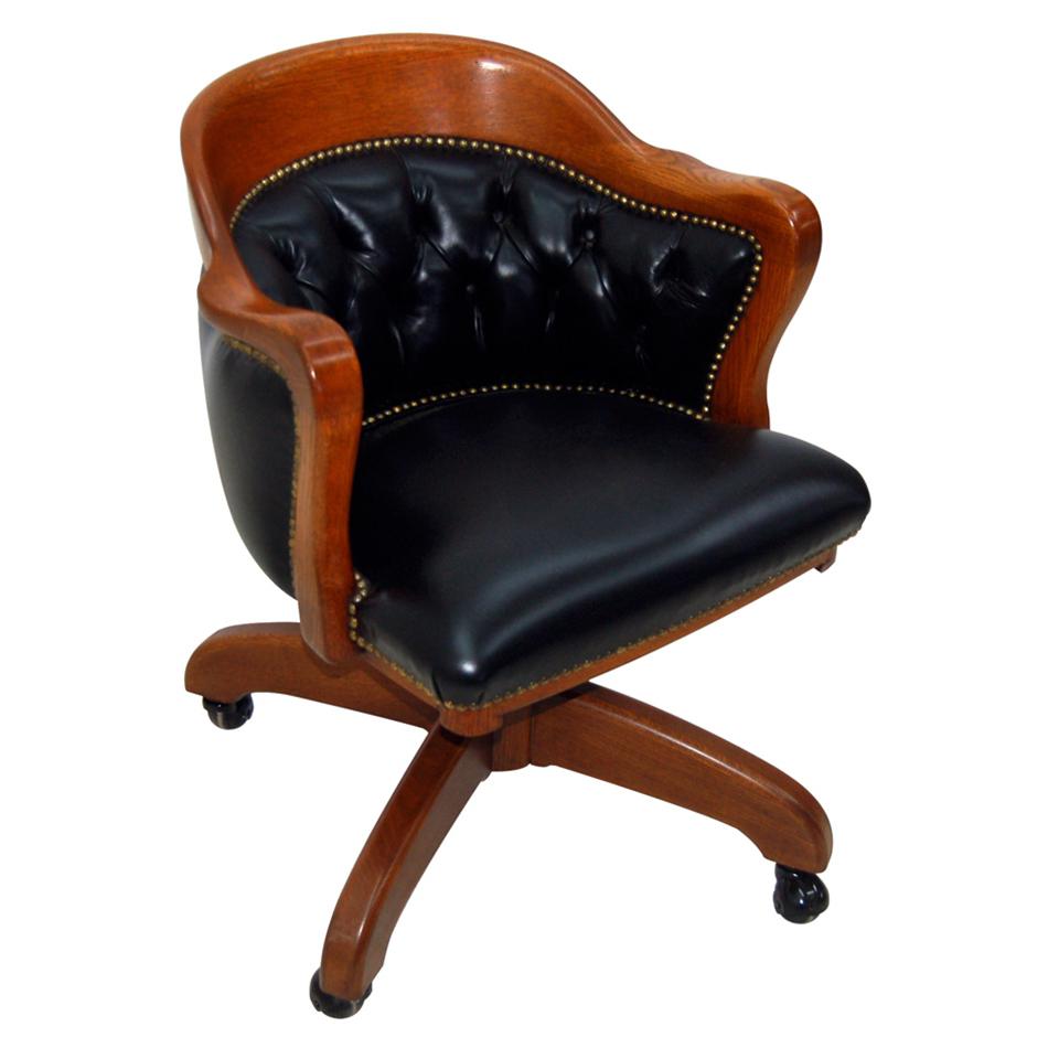 4563 American Oak Swivel Chair in Black Leather