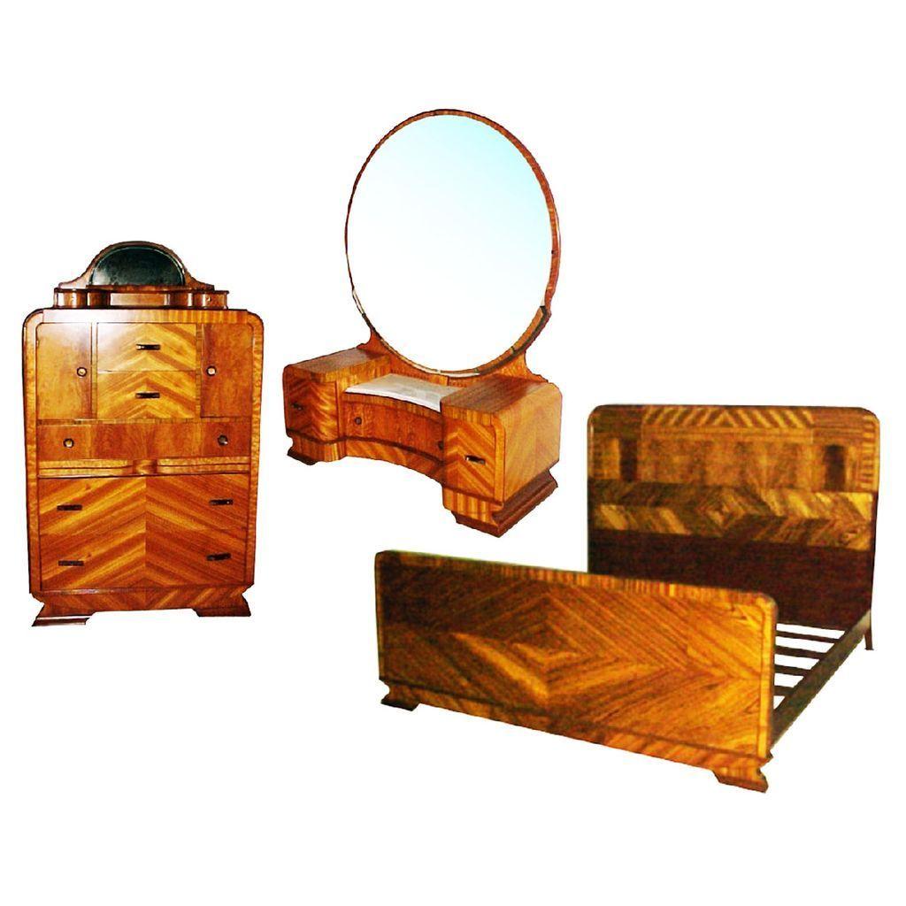 4569 Art Deco Bed Set, 3-piece, beautiful burl veneers c. 1910