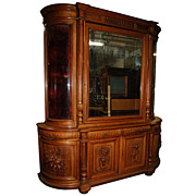 4581 European Late 19th century Oak Huntboard/ Curio Cabinet
