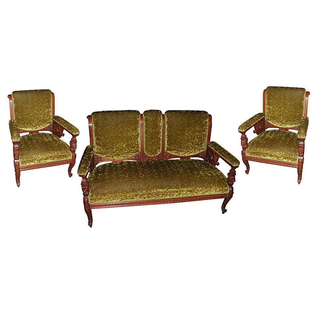 4592 Mahogany 3-Piece Antique Parlor Suite with Carved Lions