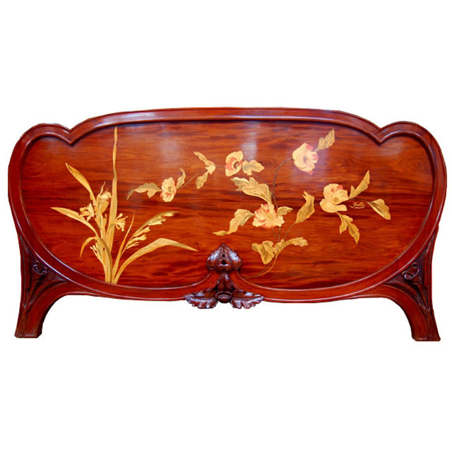 4615 Inlaid Art Nouveau Footboard/Headboard by Gallé