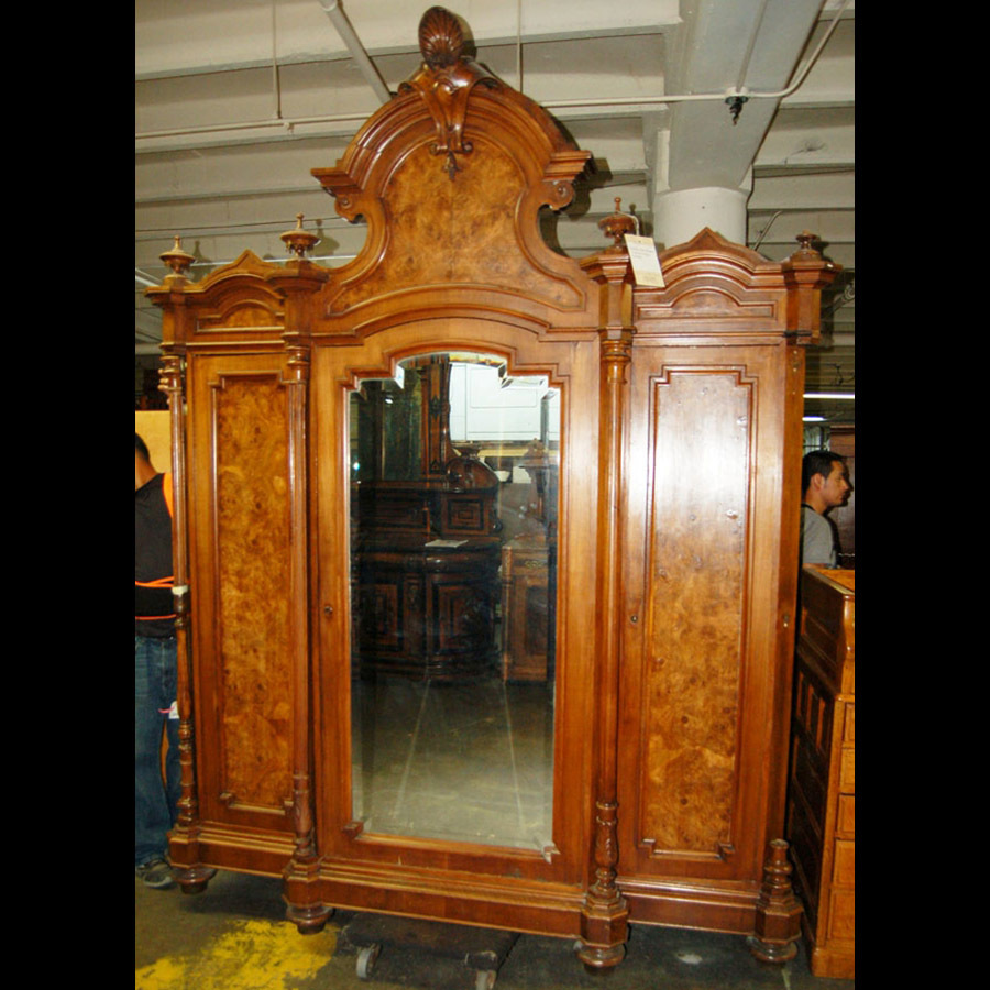 4626 Victorian Walnut and Burl 3-door Armoire/Bookcase attrib. Thomas Brooks