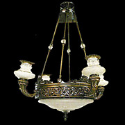 4628 5-Light Bronze & Cut Glass Chandelier