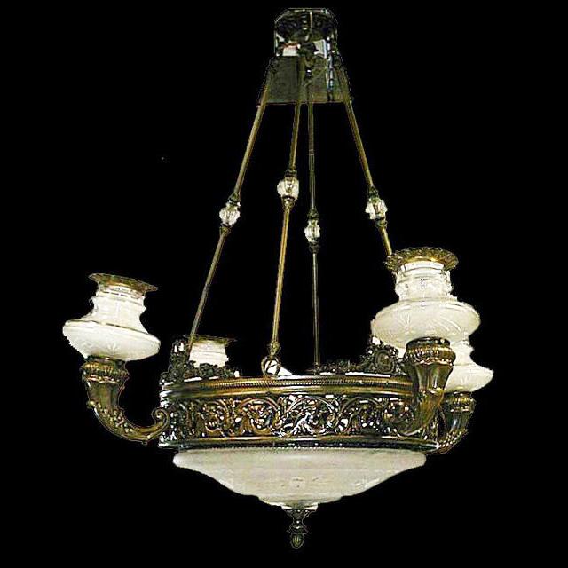 4628 5-Light Bronze & Cut Glass Chandelier