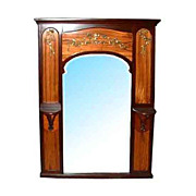 463A Beautiful French Mahogany Art Nouveau Inlaid Mirror c. 1890