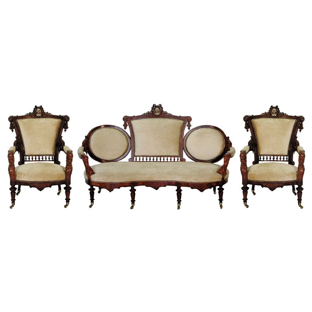 465 Wonderful 3-Piece Walnut Parlor Set by John Jelliff c. 1885