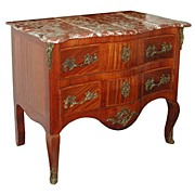 4694 Antique Louis XV French Marble Top Inlaid Commode