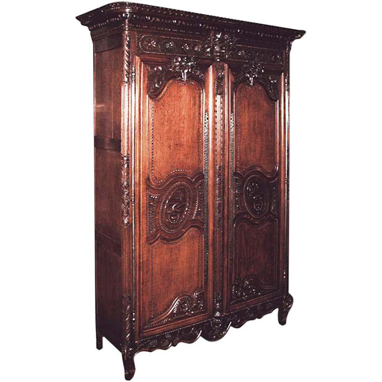 4695 18th C. French Normandy Carved Oak Wedding Wardrobe